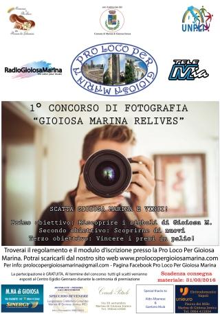 Locandina del primo concorso fotografico Gioiosa Marina Relives organizzato dalla Pro Loco Per Gioiosa Marina di Marina di Gioiosa Ionica