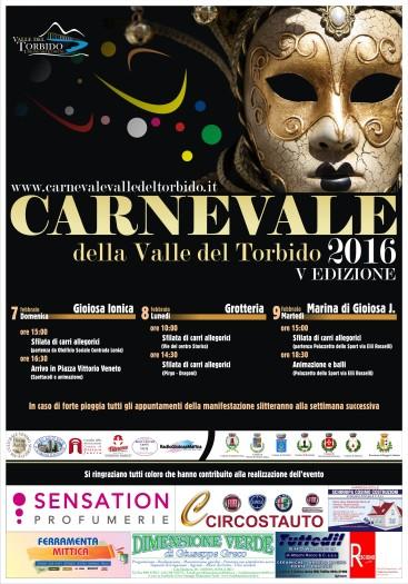 Manifesto carnevale della valle del Torbido 2016 Pro Loco Per Gioiosa Marina Ass. Borgo Antico