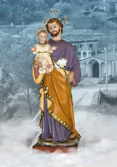 Foto della statua di San Giuseppe, celebrato a Camocelli Superiore, contrada di Marina di Gioiosa Ionica