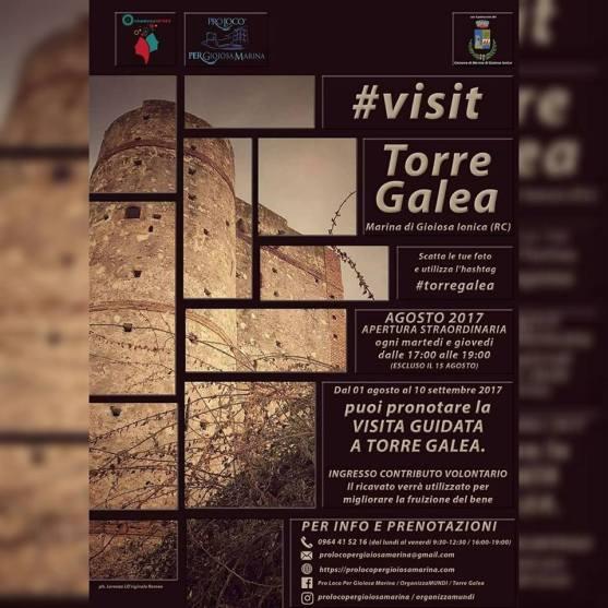Locandina Visit Torre Galea a Marina di Gioiosa Ionica dalla Pro Loco Per Gioiosa Marina e dall'associazione Organizzamundi