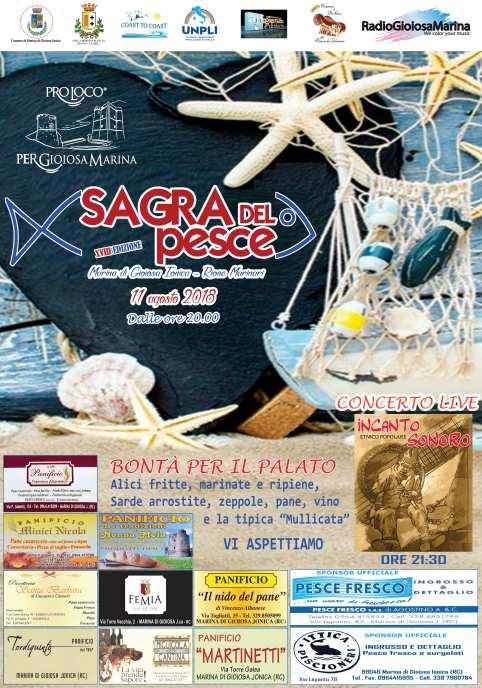 locandina sagra del pesce azzurro marina di gioiosa ionica reggio calabria 11 agosto 2018